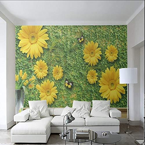 Wuyyii Fotobehang High Definition Groen Bloem Wild Chrysant Vlinder Achtergrond Mural Woonkamer Slaapkamer Hotel Wallpaper 200x140cm
