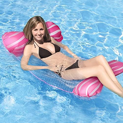 Hamaca Flotante,Gifrot Hamaca de Agua Cama Flotante de Agua,Inflables para Colchoneta Piscina Tumbona Flotante para Adultos & niños (Pink)