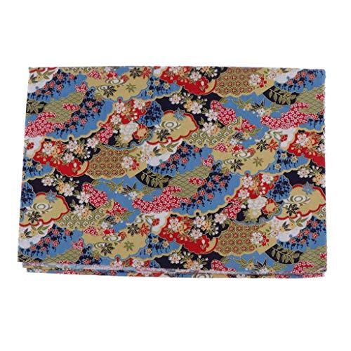 Bonarty Tejido de Algodón Tejido de Algodón Tejidos Paquetes de Telas Japonesas por Metros 150 cm de Ancho - Flores Azules