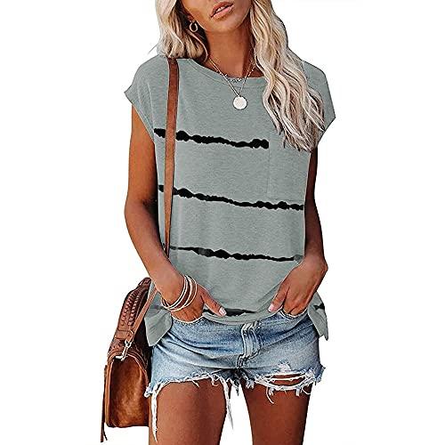 PANBOB Camisa Mujer Básico Camuflaje/Rayas Estampado Cuello Redondo Bolsillos Decoración Mujer Tops Casual Clásico Moda Personalidad Transpirable Elasticidad Mujer Blusa D-Grey S