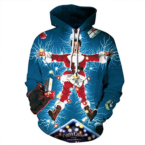 Gloria&Sarah Ugly Christmas Sweater Men Plus Size Funny Novelty Print Hoodie with Pocket Movie Star 2X