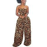 WOOSEN Women 's Sleeveless Tie Front Knot Crop Tops Wide Leg Pants Set Polka Dot Leopard Print 2 Piece Outfits, 9142-brown, X-Large