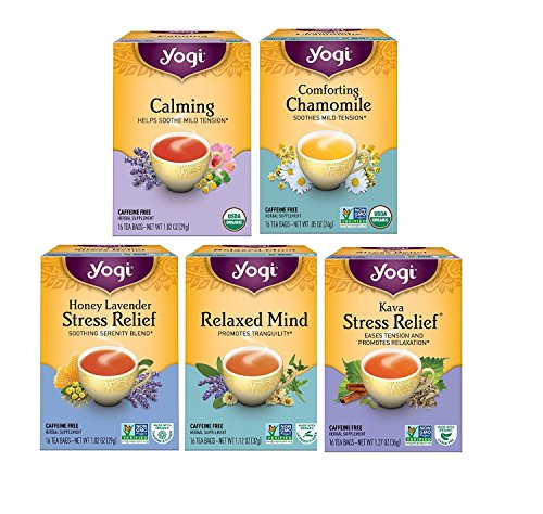 Yogi Tea Relaxation Variety Pack - 5 Different Stress Relieving Herbal Teas