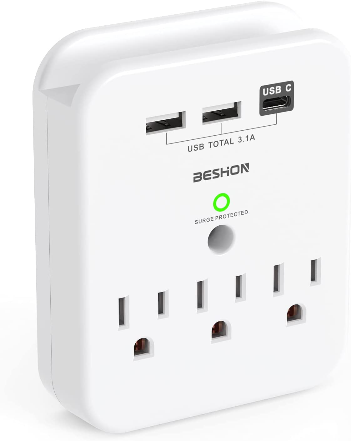 Beshon 3-Outlet 3x USB-A & -C Wall Outlet with Phone Holder $8.99 Coupon