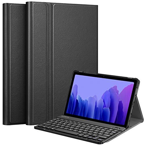 Fintie - Custodia con tastiera per Samsung Galaxy Tab A7 10.4'' 2020 (SM-T500/T505/T507), ultrasottile, leggera, con tastiera Bluetooth QWERTZ rimovibile, colore: Nero
