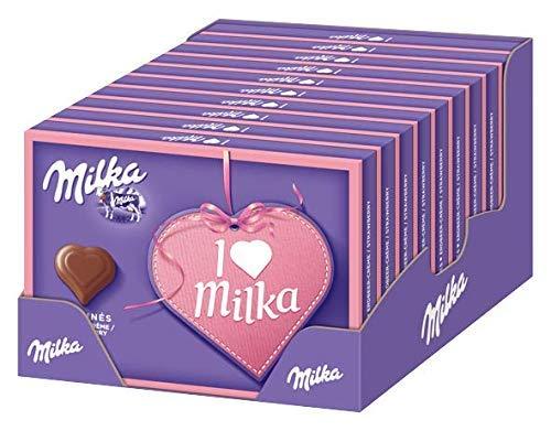 Milka I Love Milka Erdbeer-Créme- Pralinen aus Erdbeer-Crème umhüllt von zarter Alpenmilch Schokolade - 10 x 110g