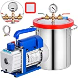 Bestauto 3 Gallon Vacuum Chamber Kit Stainless Steel Degassing Chamber 12L Vacuum Degassing Chamber Kit with 3.6 CFM 1 Stage Vacuum Pump HVAC