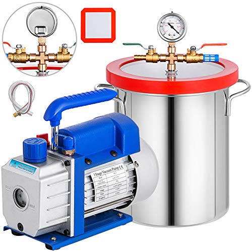 Bestauto 3 Gallon Vacuum Chamber Kit Stainless Steel Degassing Chamber 12L Vacuum Degassing Chamber...