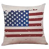 Funda de almohada de la bandera americana,Subfamily®Cajas de almohada de la bandera americana vintage Funda de cojín de sofá de lino de algodón Decoración del hogar (C)
