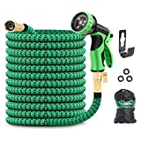 HOMPLYS 100ft expandable lightweight garden hose ,water hose with Superior Strength 3750D, 3-Layers Latex with 3/4' Solid Brass Connectors and 9 Function Nozzle,anti-leak expanding hose