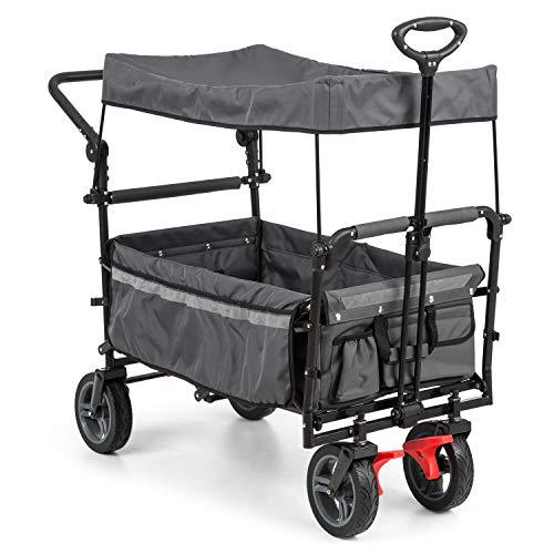Waldbeck Easy Rider Bollerwagen mit Dach Handwagen (bis 70kg belastbar, robuster & pflegeleichter 600D Polyesterbezug, 2 Sicherheitsgurte für Kinder, faltbar, Teleskop- / Schubstange) grau