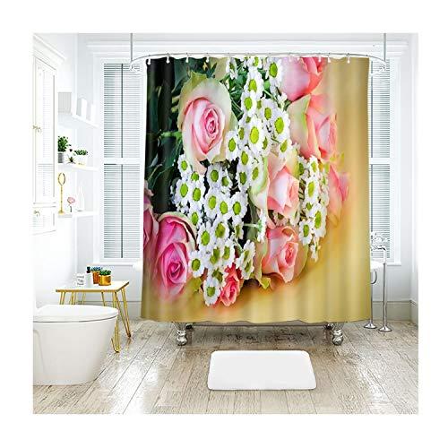 MaxAst Roses und Fieber Duschvorhang Anti Schimmel, Bunten Badewanne Vorhang 200x180CM, Antibakteriell Wasserdicht mit Kunststoff Ringe Kein Rost