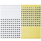 Número de 10000 Etiquetas Adhesivas Redondas Etiquetas Autoadhesivas Pequeñas Inventario Organización Etiqueta Adhesiva Impermeable (50 hojas fondo amarillo, 50 hojas fondo blanco)