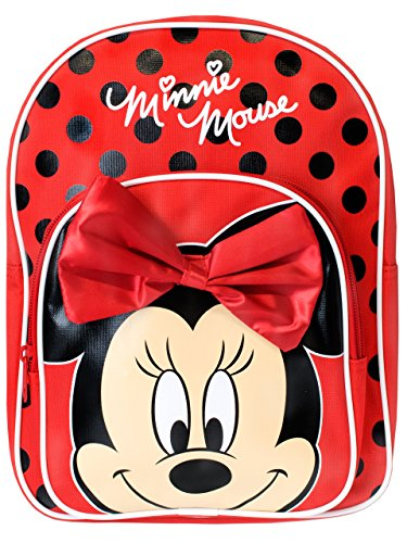 Disney Mädchen Minnie Mouse Rucksack mit Schleife, rot (Rot) - DMINN001195