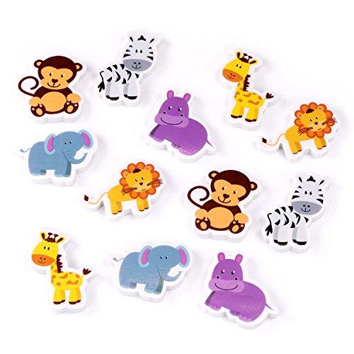 Palandi Safari Radiergummis 12 Stück Zootiere Radierer Mitgebsel Gastgeschenke Sticker