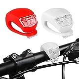 Led Light Set, Aufeel Juego de 2 luces Luz Blanca Delantera Roja Trasera Intermitentes Flash de Silicona Faro Impermeable Silicone Leds Blanco Rojo Bicicleta Bici Manillar Mountain Bike Moto Motorbike
