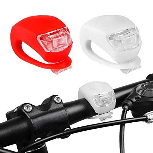 LED Mini Silicone Set, Aufeel lumière Vélo Lampe de phare avant de vélos avant et arrière, qualité ultra, pour la sécurité étanche en silicone kit de sécurité blanc et rouge
