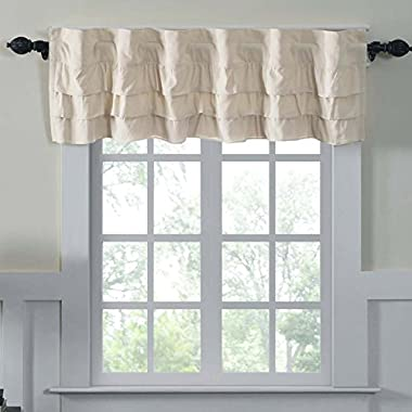 Ruffled Chambray Natural Lined Valance, 16x72, Farmhouse Decor Curtain