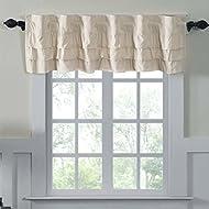 Ruffled Chambray Natural Lined Valance, 16x72, Farmhouse Decor Curtain