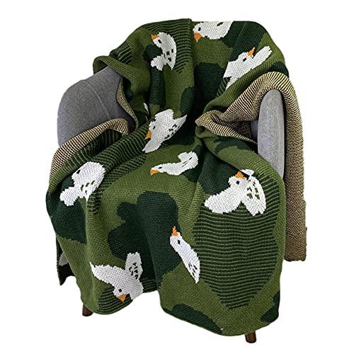 TENGTUD Manta de Punto, Manta de patrón de pájaro para Cubrir la Manta / Manta de Aire Acondicionado / Manta de sofá / Manta de cama-100x150cm