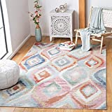 Safavieh Phoenix Collection PHX290M Boho Ogee Trellis Watercolor Non-Shedding Stain Resistant Living Room Bedroom Area Rug, 4'5' x 6'5', Light Blue / Pink