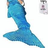 Manta de punto tejida a mano con forma de cola de sirena, para sofá o salón, para adultos y niños, 180x 90cm
