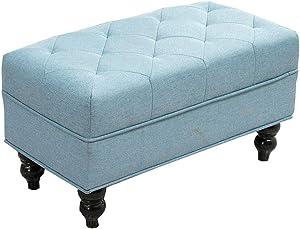 Dall Fußbänke Ottomane Holzbeine Sofa Hocker Abnehmbare Wäsche Schuh Bench Wohnzimmer Schlafzimmer 80 × 40 × 42 cm (Farbe : Blau)