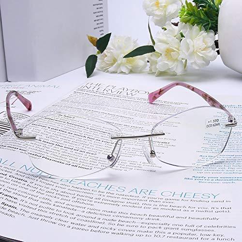 DOOViC Blaulichtfilter Lesebrille Randlos Transpartente Gläser Metall Brille mit Sehstärke Lesehilfe für Damen 2,0