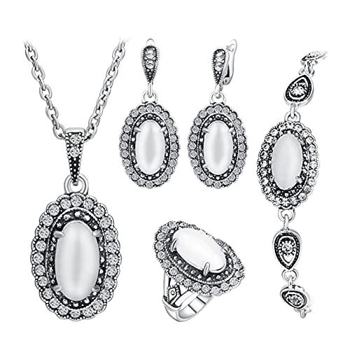 YUANBOO Conjunto de Joyas de la Boda de la Vendimia Color de Plata Antiguo 4pcs / Sets Anillo de ópalo Blanco/Collar/Pulsera y Pendiente para Mujeres (Main Stone Color : White, Ring Size : 7)