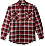 Wrangler Authentics Men's Long Sleeve Quilted Lined Flannel Shirt Jacket, Biking Red Tri Color Buffalo, Large