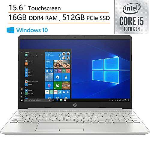 2020 HP 15 15.6' Touchscreen Laptop Computer, 10th Gen Intel Quad-Core i5 1035G1 (Beats i7-7500U), 16GB DDR4 RAM, 512GB PCIe SSD, Webcam, Microphones, iPuzzle Mouse Pad, Windows 10, Online Class Ready