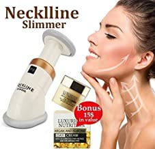 Get Rid Of Turkey Neck And Double Chin With Neckline Slimmer Under Chin Fat Burner Jawline Exerciser 4 Men & Woman Firming Toning Device Anti Aging Workout+European Super Nutrient Facial Cream+E-Book