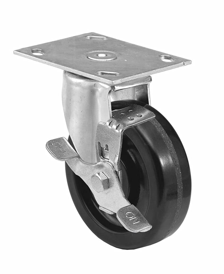 E.R. Wagner Americaster Plate Caster, Swivel with Strap Brake, Dust Cover, Phenolic Wheel, Roller Bearing, 450 lbs Capacity, 4