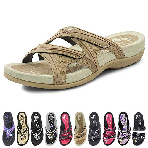 GP Slide Sandals for Women: 7534 Tan, EU40 (US Size 9-9.5)
