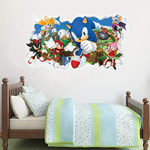 Sonic The Hedgehog Wall Sticker All Characters Smashed Wall Decal Vinyl Mural Kids Bedroom Art (90cm Width x 45cm Height)