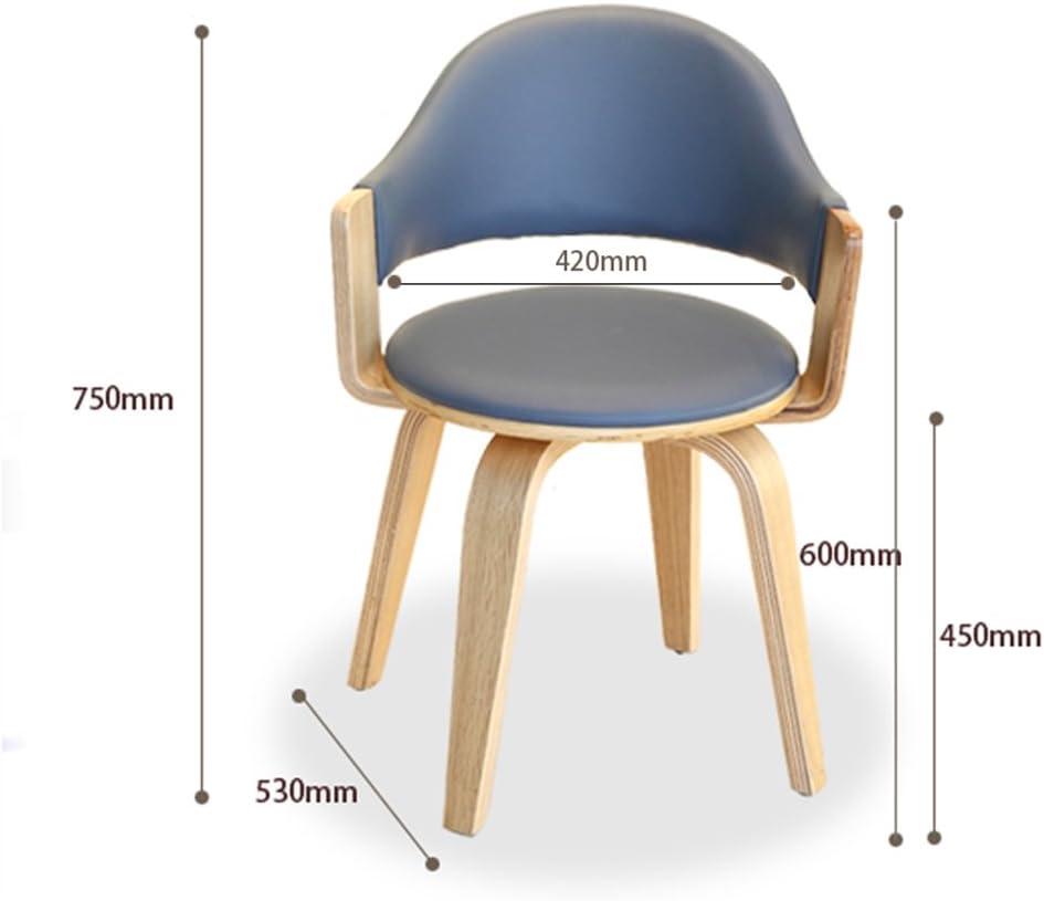 Pouf repose-pieds Chaise d'ordinateur pivotante en bois massif/chaise bureau coréen étude chaise/tabouret de bar restaurant restaurant chaise (Color : Blue PU) Golden Fabric