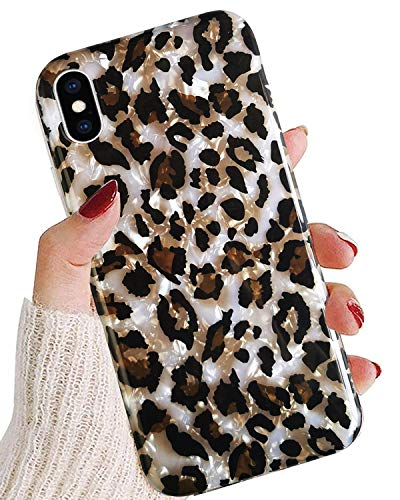 J.west iPhone Xs Max Case Leopard for Women Girls,Cute Sparkle Translucent Clear Cheetah Pattern Design Slim Soft Silicone Protective Phone Case Cover for iPhone Xs Max 6.5 inch