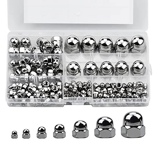 160 Stk Hutmuttern Kappenmutter M3 M4 M5 M6 M8 M10 M12 Eichel Sechskantmuttern Secheskant Hutmutter Set für Hardware Zubehör Schrauben und Bolzen