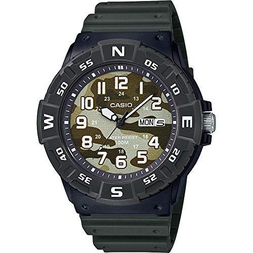CASIO MRW-220HCM-3BVEF- Reloj Analógico para Hombre, de Cuarzo con Correa en Resina, Verde