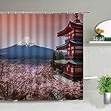 Cortina de Ducha escénica Japonesa Japonesa Monte Fuji escénica Flor de Sakura Juego de Cortina de baño Tela Decorativa S.9 150x200cm