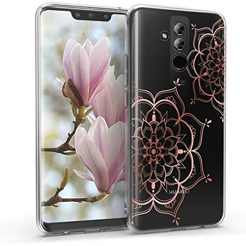 kwmobile Hülle kompatibel mit Huawei Mate 20 Lite - Handyhülle Silikon Case - Blumen Zwillinge Rosegold Transparent