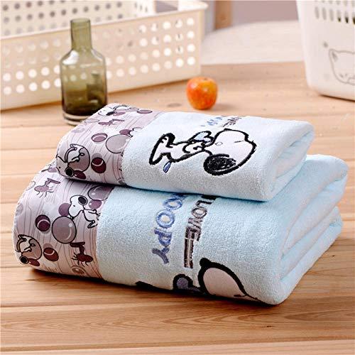 LHK Toalla + Toalla de baño Juego de 2 Piezas Toalla de baño de Regalo de Dibujos Animados Absorbente Suave Toalla Grande - Azul Snoopy_70 * 140cm