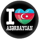 FanShirts4u Button/Badge/Pin - I Love ASERBAIDSCHAN Fahne Flagge (I Love Aserbaidschan/aserbaidschanisch)