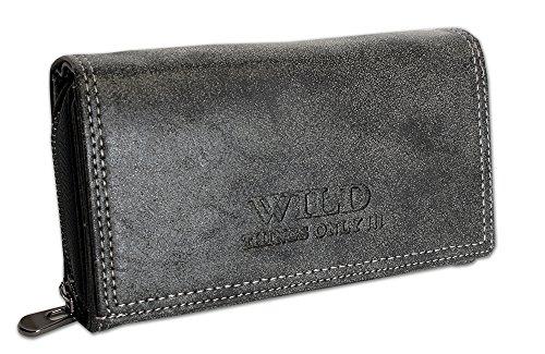 Großes Damen Portemonnaie | Geldbörse mit Münzfach Kreditkartenfächer Ausweisfächer Fotofächer | Brieftasche für Frauen XL (11033) (Schwarz)