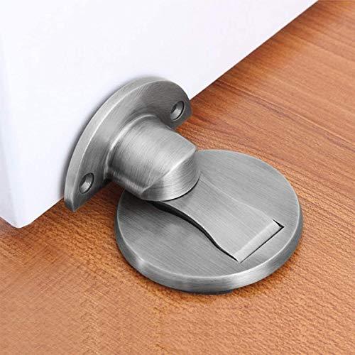 Magnetischer Türstopper, unsichtbarer magnetischer Türstopper, gebürstetes Satin-Nickel, Boden-Metall-Magnet-Türschnäpper mit Klebstoff, Edelstahl-Türstopper, strapazierfähig, silberfarben