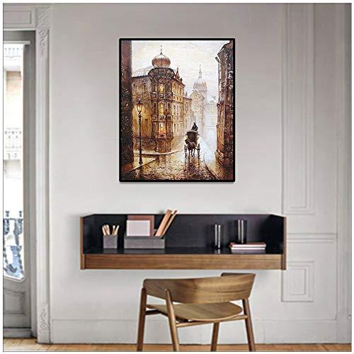 wopiaol Sin Marco Nordic Modern Canvas Painting Abstract Vintage Wall Decor Wall Picture Pintura al óleo sobre Lienzo Decoración del hogar Carteles Impresiones
