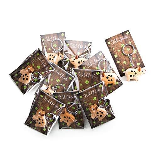 10 geluksvarken geluksbrengers hout met kaart veel geluk verpakt sleutelhanger geluksvarkentjes houten hanger oudejaarsaway bruiloft Nieuwjaar give-away
