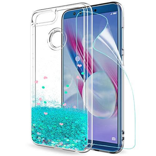 LeYi Hülle Huawei Honor 9 Lite Glitzer Handyhülle mit HD Folie Schutzfolie,Cover TPU Bumper Silikon Treibsand Clear Schutzhülle für Hülle Huawei Honor 9 Lite Handy Hüllen ZX Turquoise