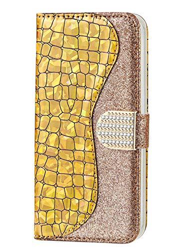 Homikon PU Leder Hülle Cool Laser Schutzhülle Brieftasche Bling Glitzer Strass Handyhülle Kunstleder Silikon Wallet Tasche Ständer Book Case Flip Cover Kompatibel mit Samsung Galaxy S7 - Gold
