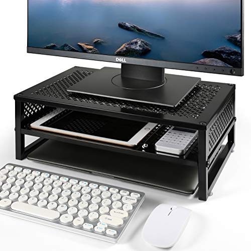 Simple Trending 2-Tier Monitor Stand Riser, Metal Desk Organizer...